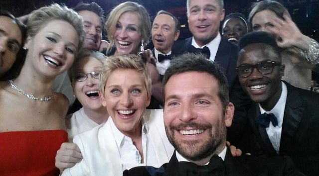 The star-studded selfie at the 2014 Academy Awards that broke Twitter records.