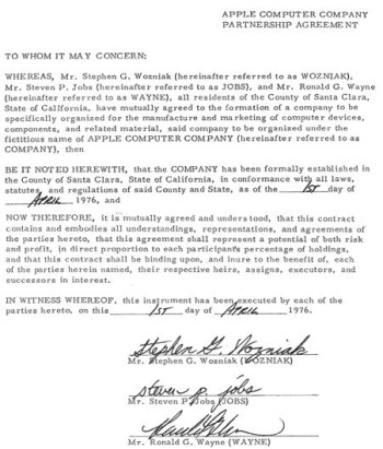 Apple's founding contract, with the signatures of Steve Jobs, Steve Wozniak and Ron Wayne.