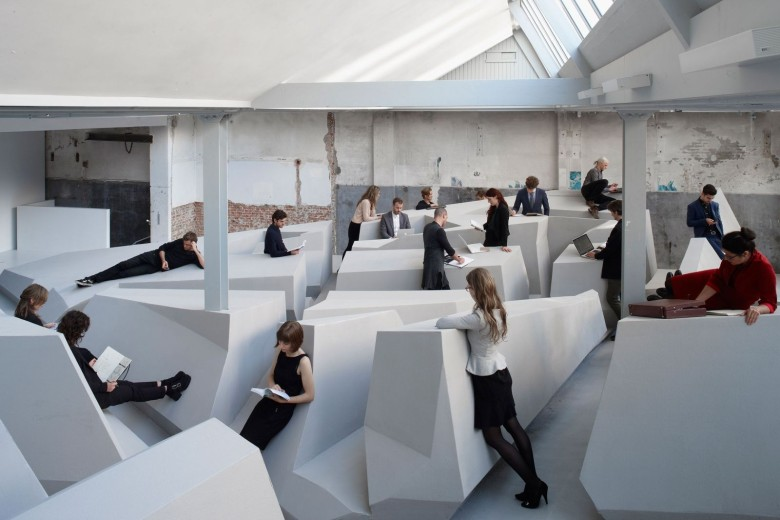 No chairs exist in the office re-imagined by artist Barbara Visser and architects Erik and Ronald Rietveld. Photo by Jan Kempenaers
