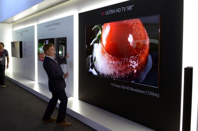 A 98-inch version of  LG's 8K TV, which will be showcased at CES 2015. Photo: DigitalTrends