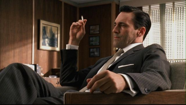 He's smoking, really? Has he not seen the commerci-- Oh, right. Well played, Don Draper. Photo: AMC