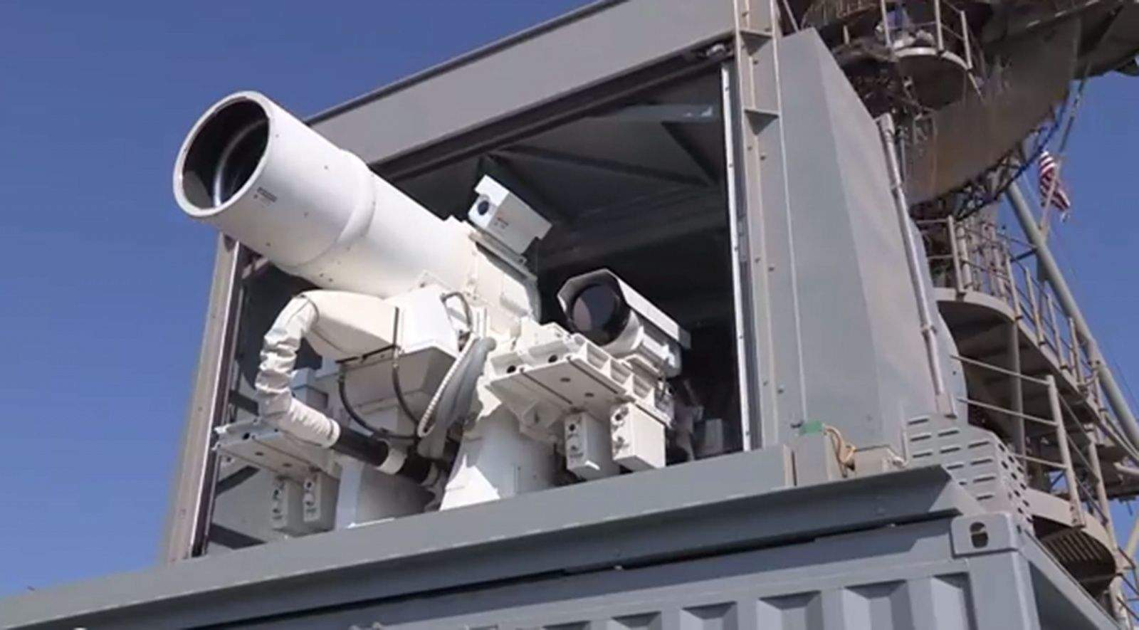 USS Ponce has U.S. Central Command's blessing to defend itself with this laser weapon.  (U.S. Navy video)