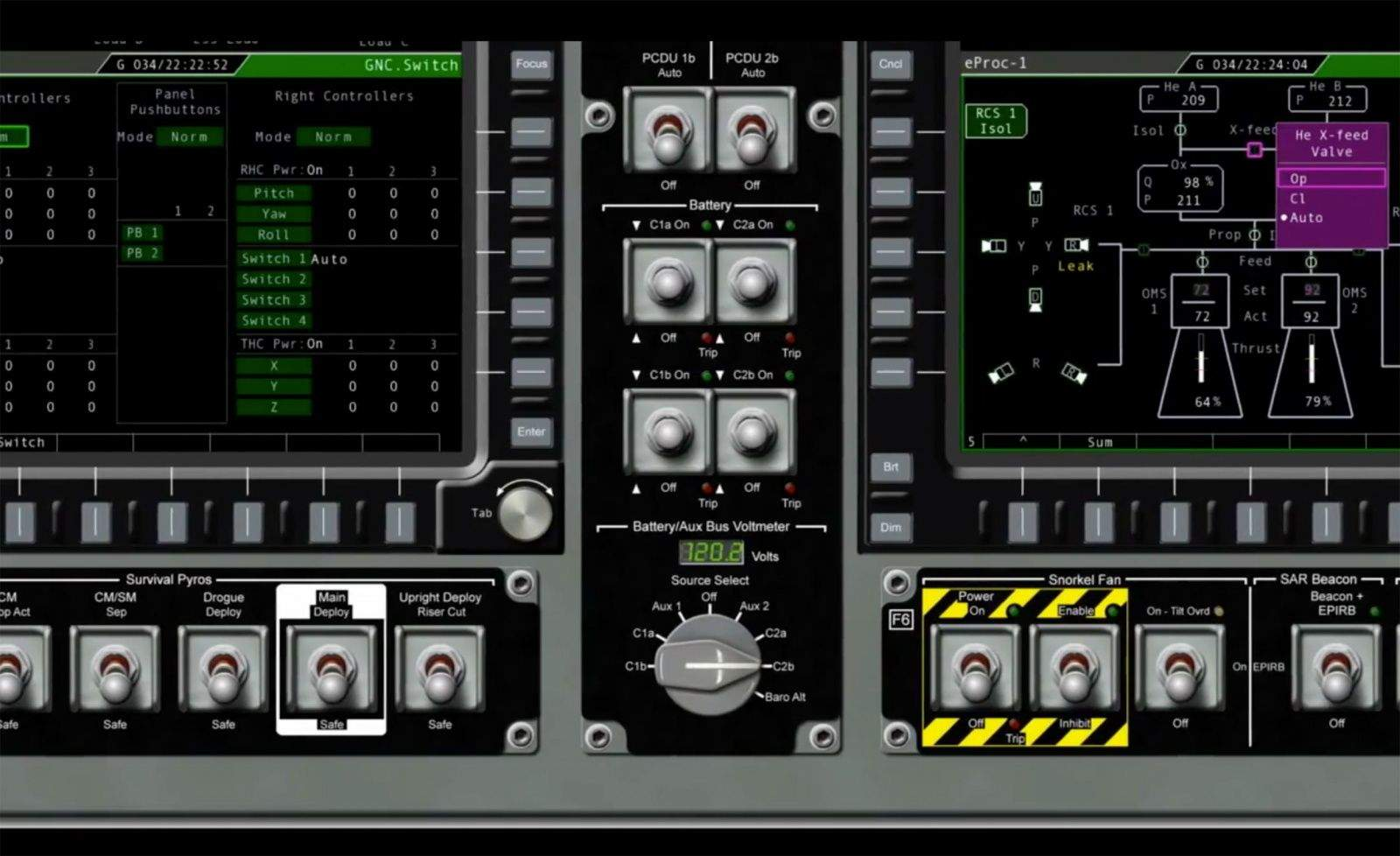 Screen shot of Orion user interface controls: NASA