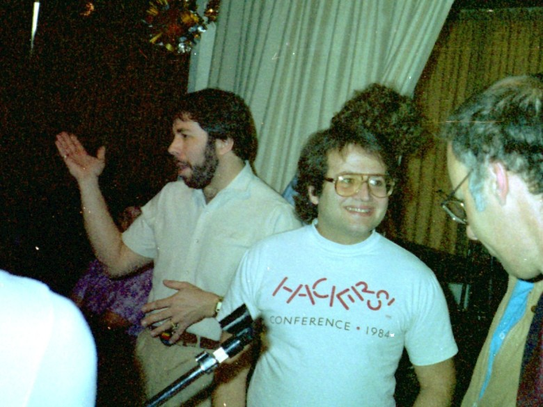 The Woz (left) and Andy Hertzfeld (center) at an original Apple Computer Users Group meeting in the 80s. Photo: Tony Wills