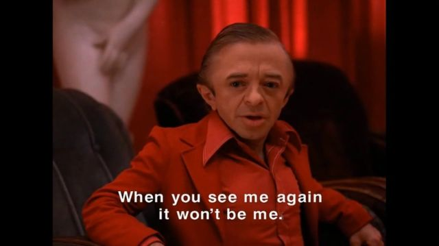 The Dwarf in Twin Peaks is subtitled because the actor spoke backwards, and then they reversed that so he'll sound all weird, and what the hell, David Lynch. Photo: CBS Television