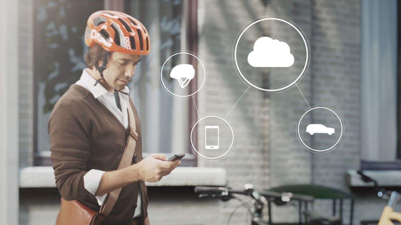 Swedish companies Volvo and POC have developed cloud-based safety technology that will alert cyclists and motorists when a collision is possible. (Photo from Volvo)