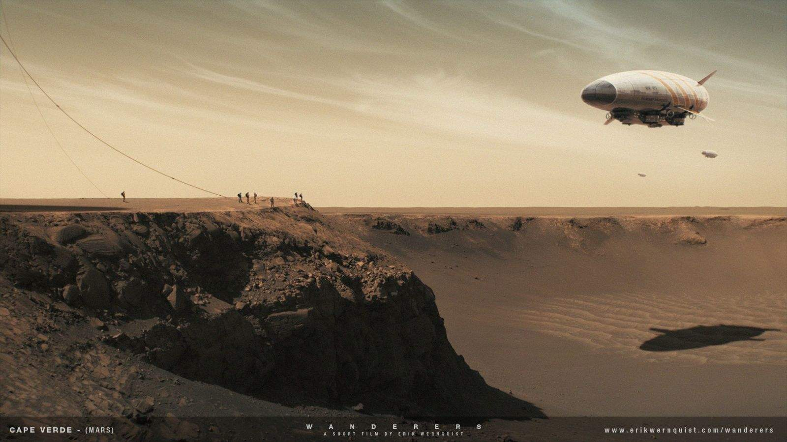 A group of people await the arrival of a few dirigibles at the edge of the Victoria Crater on Mars in Erik Werquist's short film