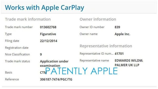 The trademark application as filed by Apple's attorneys.