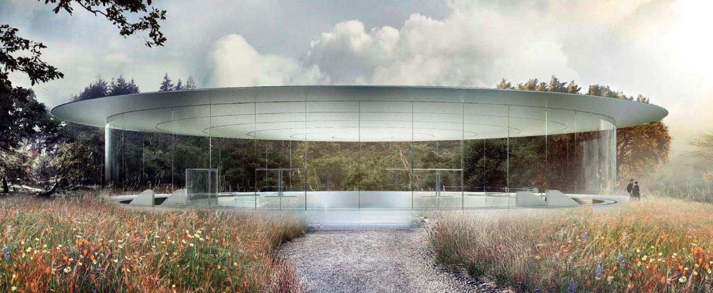 A concept of what the entrance to Apple's future theater will look like, not a shot from Christopher Nolan's next sci-fi epic. Photo: Cupertino.org