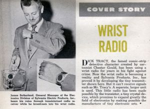 Sylvania showed off a wrist radio in this Popular Science article in 1954.