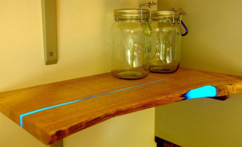 Mat Brown mixed glow-in-the-dark pigment with resin to fill in the cracks on this shelf. (Photo by Mat Brown)