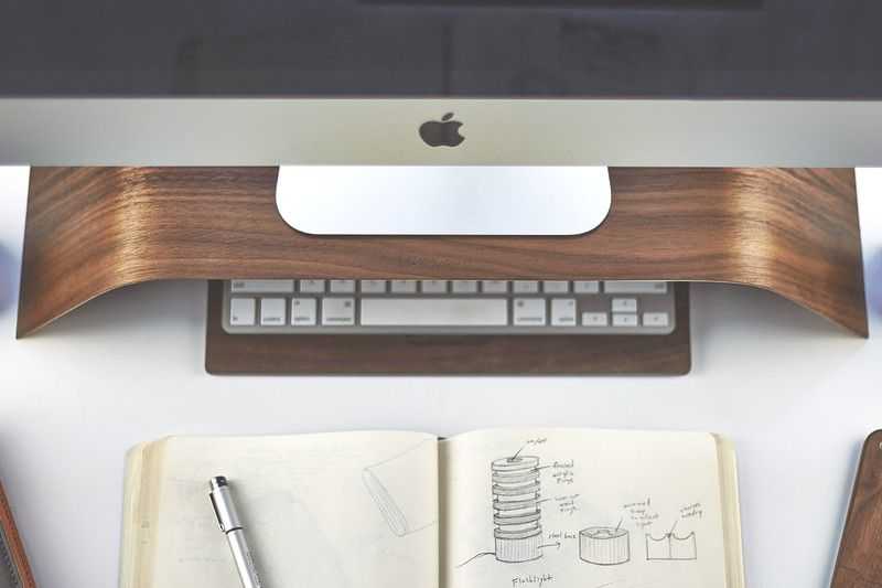 The Walnut Monitor Stand is the perfect way to prevent neck strain while sitting at your iMac. Photo: Grovemade