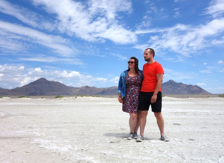 UX designers Holly Kennedy and James Turner run their business from the road as they travel the world. Here, the couple stand in the Bonneville Salt Flats in Utah during an American leg of their travels. Photo courtesy of Kennedy and Turner