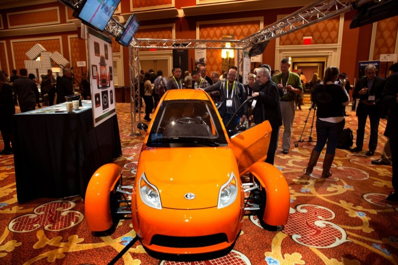 Elio Motors' three-wheeled, fuel-efficient vehicle is a real eye-grabber. Photo: Jim Merithew/Cult of Mac