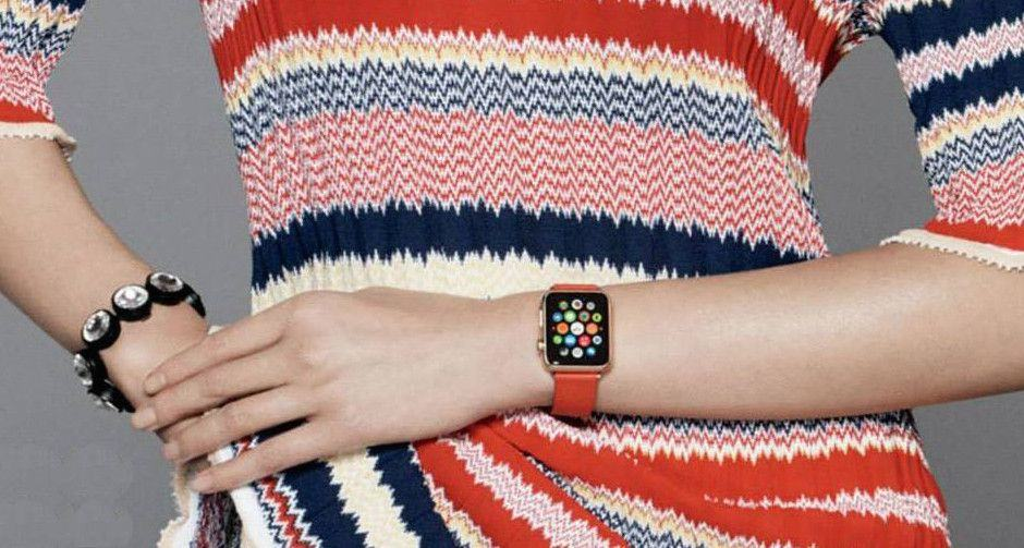 The Apple Watch modeled in Vogue China last October. Photo: Vogue China