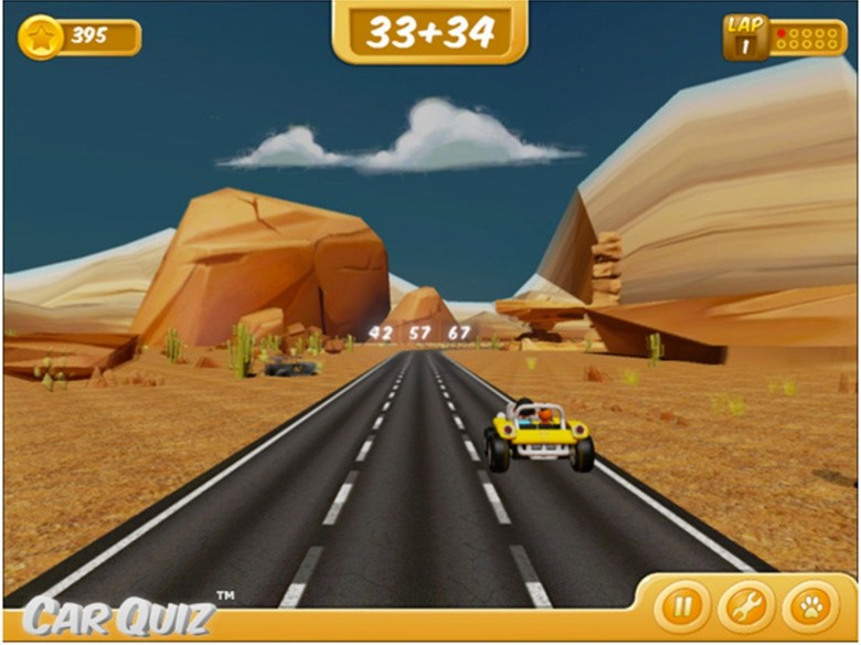 A scene from the math game CarQuiz, which asks drivers to answer math questions, swiping a finger to move to the lane with the correct answer. Photo: Smile More Studios