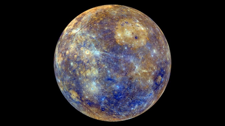 This  view of Mercury was produced by using images from the color base map imaging campaign during MESSENGER's primary mission. These colors are not what Mercury would look like to the human eye, but rather the colors enhance the chemical, mineralogical, and physical differences between the rocks that make up Mercury's surface. Photo: NASA/Johns Hopkins University Applied Physics Laboratory/Carnegie Institution of Washington