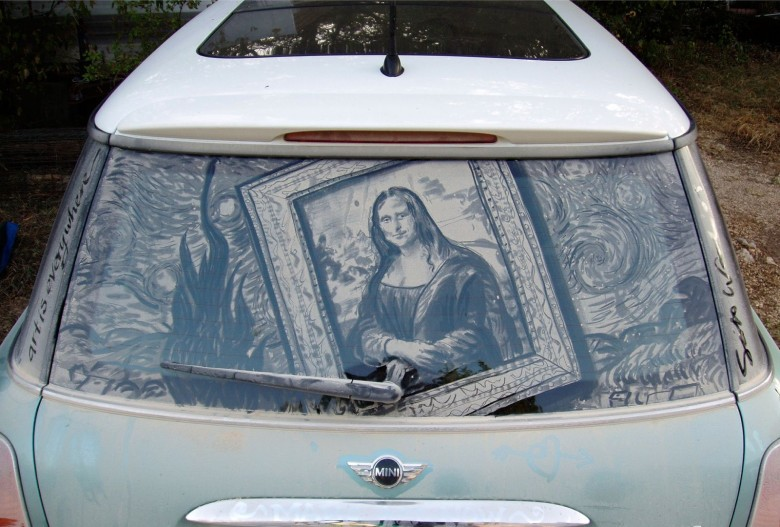 One person's dirty car window is Scott Wade's canvass. Wade found a museum mashup - Mona Lisa and Starry Night - on this dirty window. Photo courtesy of Scott Wade