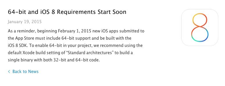 Devs need to update their apps for 64-bit and iOS 8 now. Photo: Cult of Mac