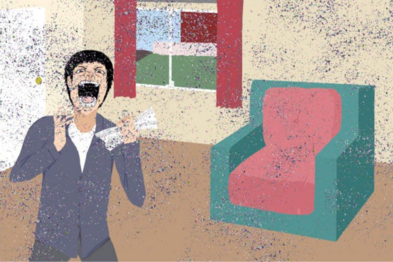An illustration for the website shipyourenemiesglitter.com depicts the anger that ensues when opening an envelop full of glitter sent by a prankster.
