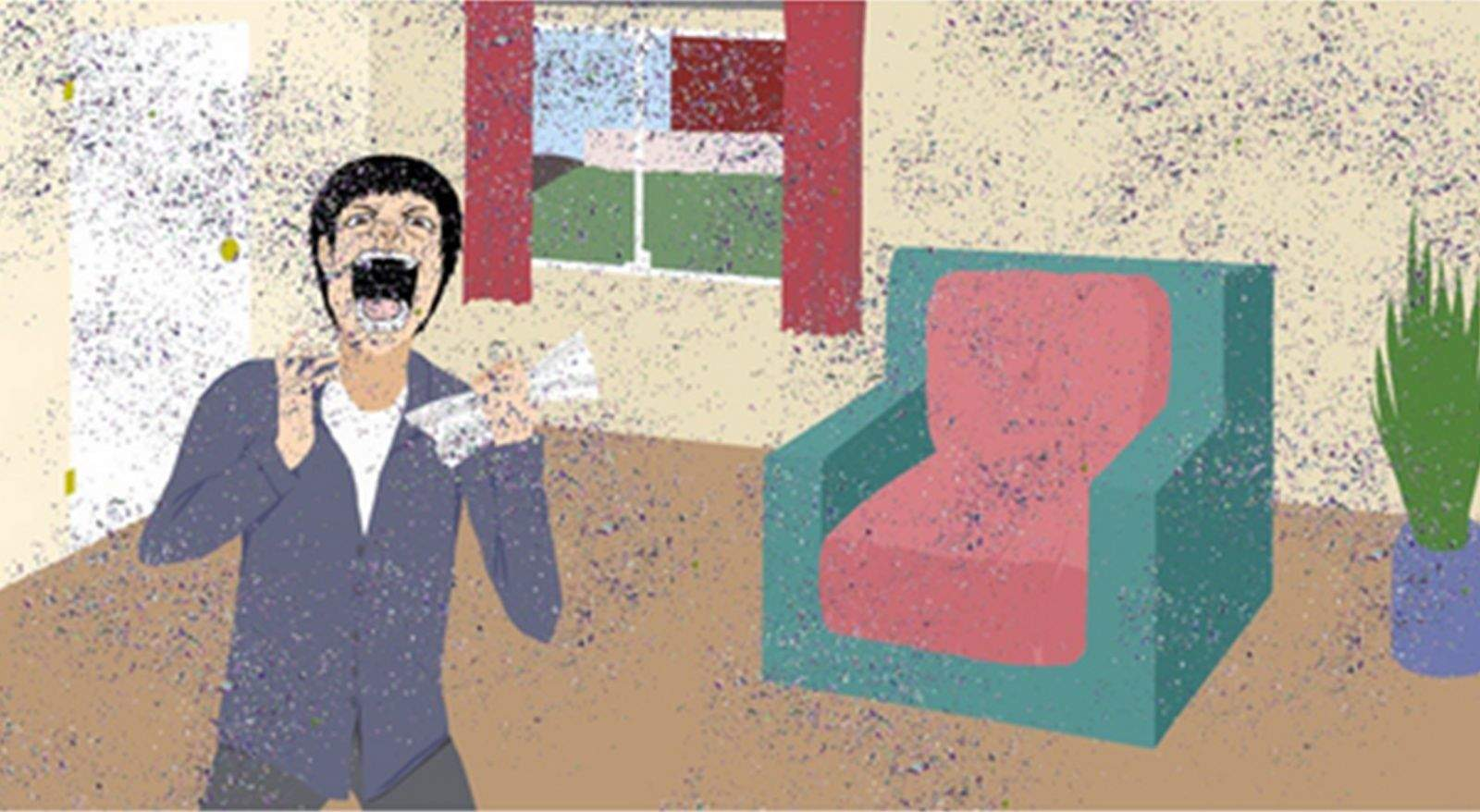 An artist rendering shows the reaction of a recipient of a glitter bomb. Illustration: shipyourenemiesglitter.com