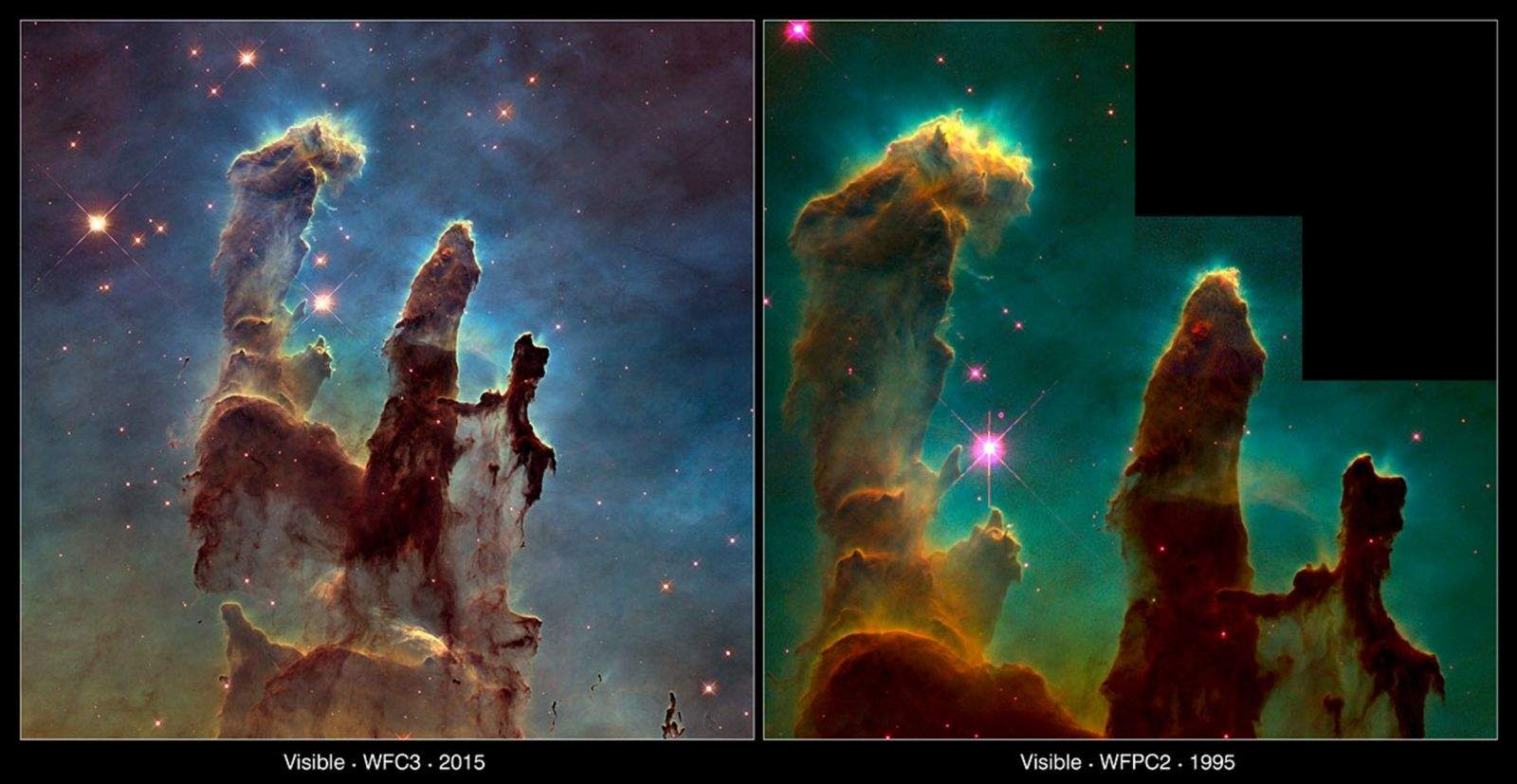 Two views of the Eagle Nebula from the Hubble Space Telescope, one from 2014, left, and the first in 1995. Photo courtesy of NASA and the European Space Agency