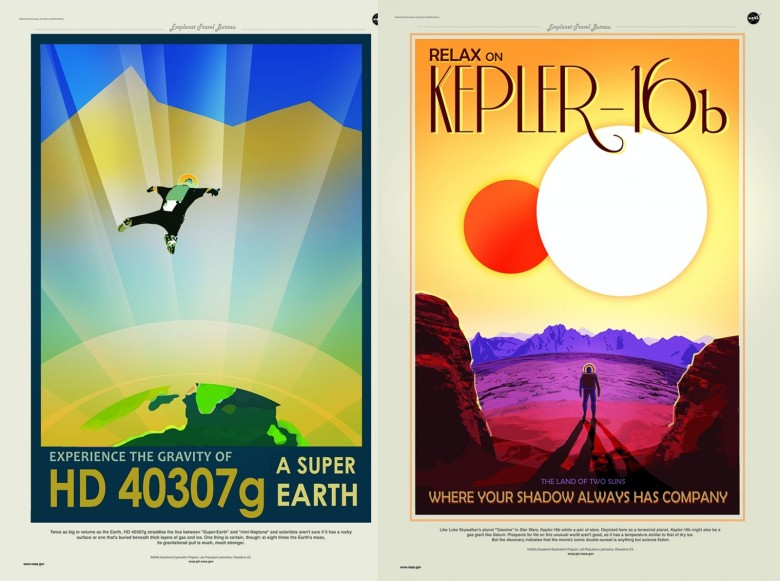 Retro travel posters issued by NASA celebrate some of the discoveries of the Kepler Space Telescope. Illustrations: NASA