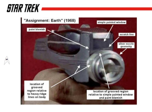 A page from the auction catalog shows a close-up of the phaser from a Star Trek episode and details visually matched to the prop up for bid. Photo: Propworx