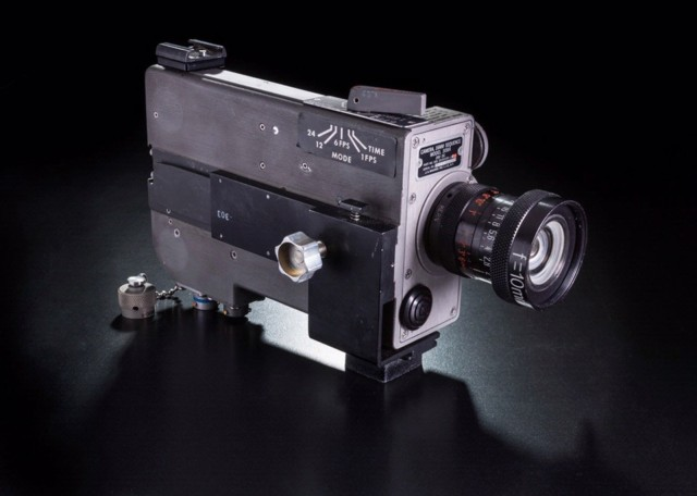 This 16 mm movie camera recorded the first foot steps on the moon from astronauts Neil Armstrong and Buzz Aldrin. Photo: Smithsonian National Air and Space Museum