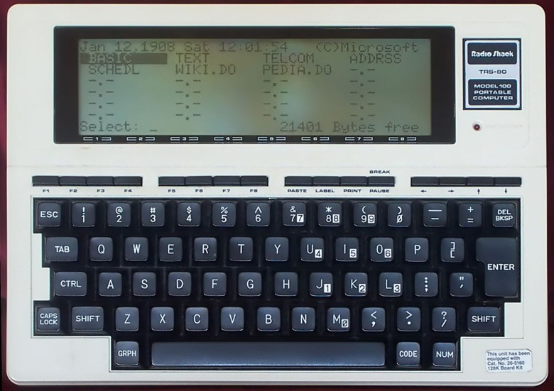 The Radio Shack TRS-80 Model 100 came out in 1983 and was a popular tool with writers.