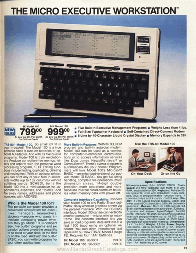 A page out of a Radio Shack catalog showing the TRS-80 Model 100. Photo: radioshackcatalogs.com