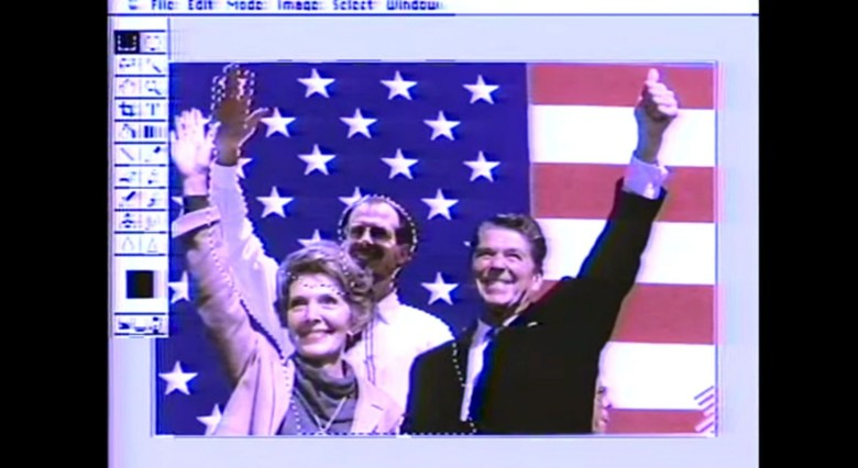 Adobe's Russell Brown, center, placed himself in a photo of the First Couple during a demonstration of Photopshop 1.0 on the Today Show in 1990. Photo: Today Show/YouTube