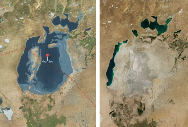 Apple's Aral Sea on left, NASA latest image on right. Photo: Cult of Mac
