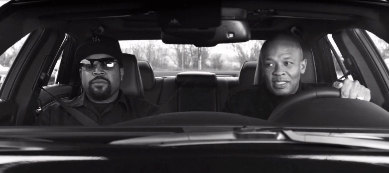 Ice Cube and Dr. Dre rolling around Compton. Photo: Universal Pictures