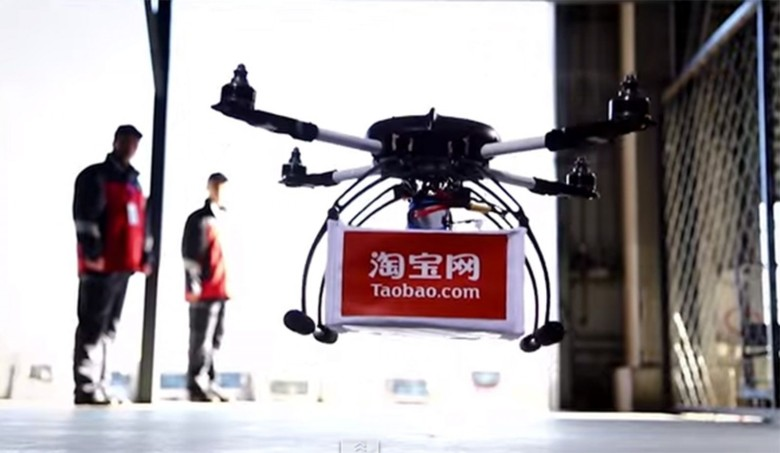 The Alibaba Group began testing drone delivery through its e-commerce site Taobao, bring tea to 450 doorsteps within an hour. Photo: Taobao.com