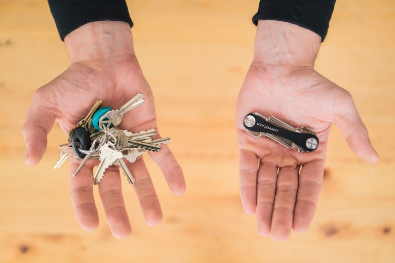 Key Smart, right, removes the bulk from your pocket and organizes your keys  into a slim handle. Photo: Key Smart