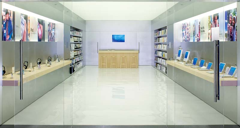 The typical design for an Apple Mini-Store. Wave goodbye! Photo: Apple