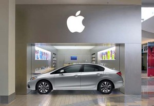 Apple's Oakridge Mini-Store was just wide enough to fit a Honda Civic. Photo: ifoAppleStore