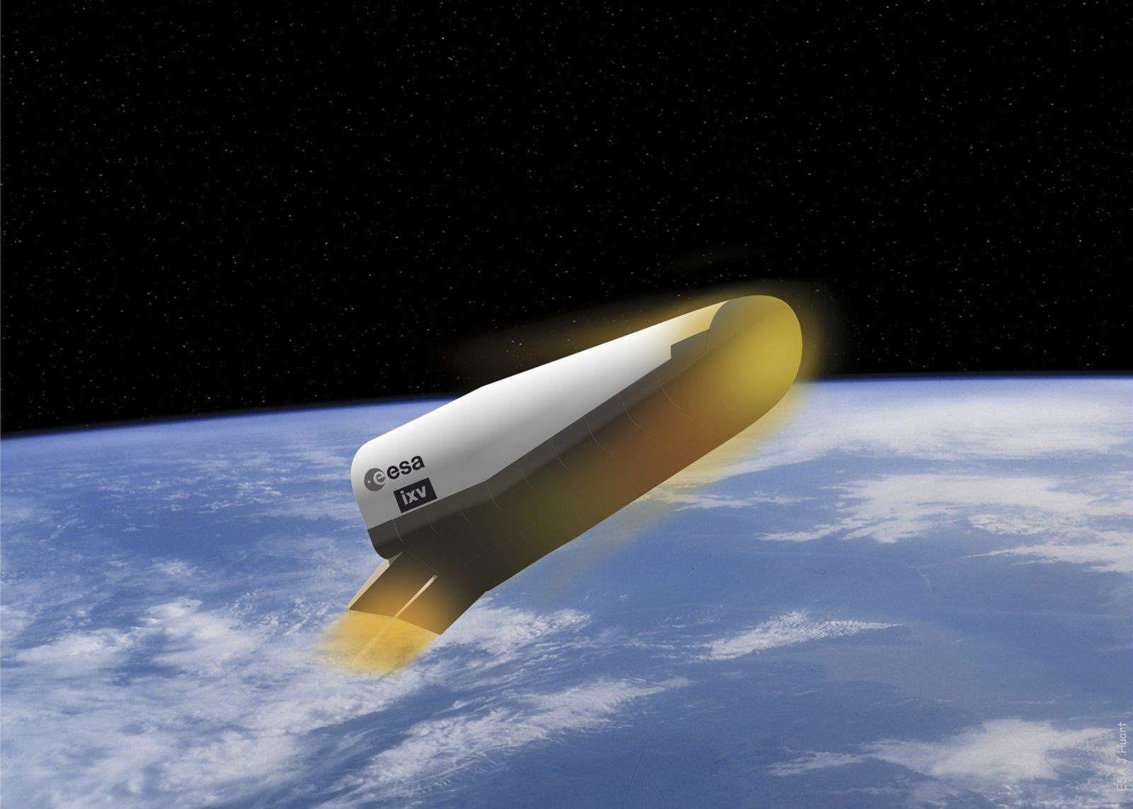 An illustration shows the European Space Agency's Spaceplane on re-entry. A test launch is scheduled for Feb. 11. Illustration: J. Huart/ESA