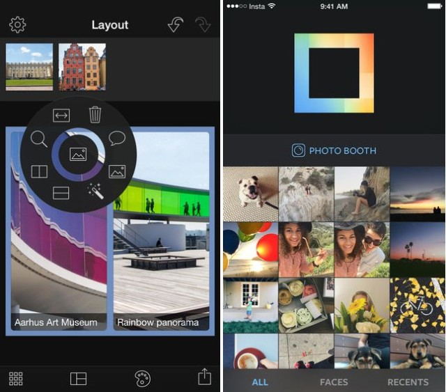 Swanson's Layout (left) vs. Instagram's Layout (right)