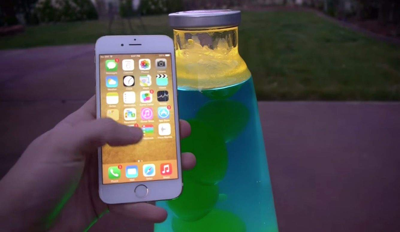 Bet you can never guess what happens when you dunk an iPhone 6 in a lava lamp. Screengrab: Cult of Mac