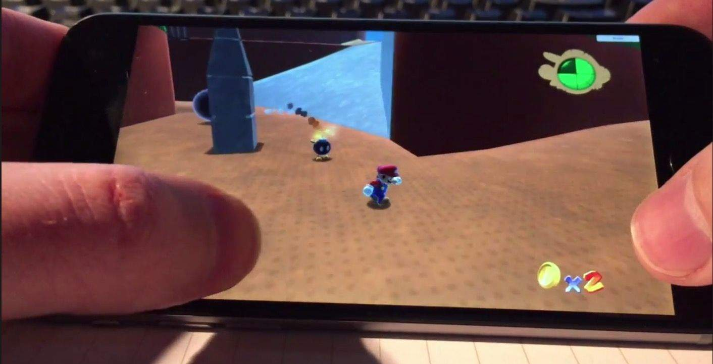 The first 3-D Mario running on an iPhone 6. Screenshot: Cult of Mac