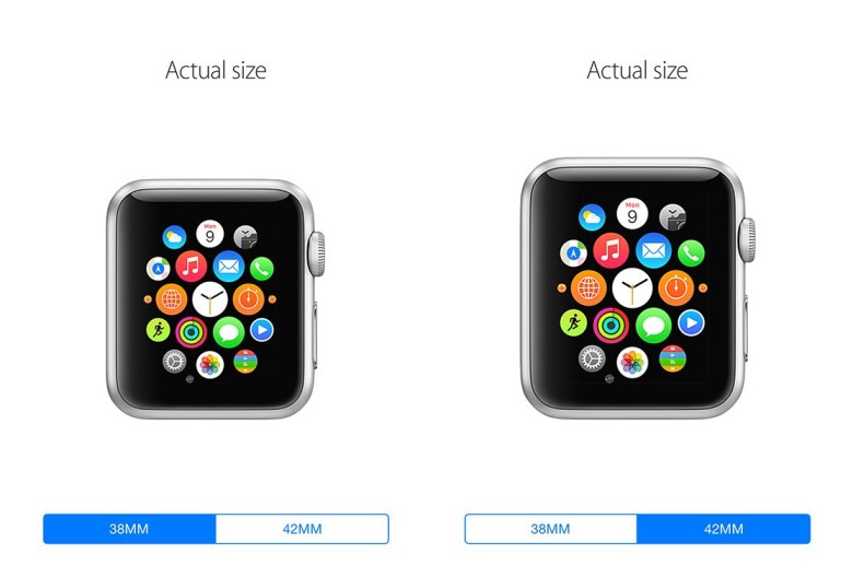 Apple Watch at actual size. Screenshots: Cult of Mac