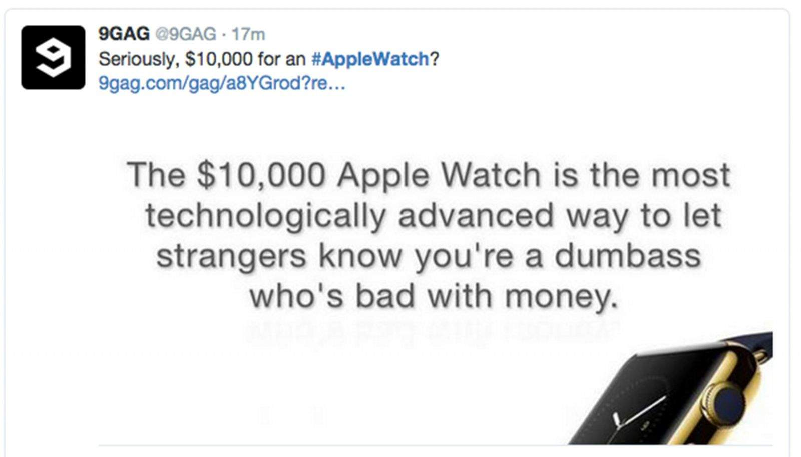Twitter wasted no time in reacting to the new Apple Watch with many critical of the luxury model. Photo: Twitter