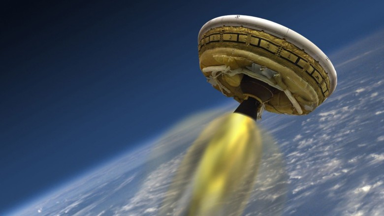NASA is testing a saucer-like space craft that could bring heavy payloads to Mars. Photo illustration: NASA/JPL-Caltech