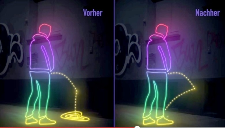 Activist have applied a superhydrophobic coating to areas of St. Pauli in Hamburg, Germany to create splashback on those who urinate in public. Graphic: St Pauli's Community of Interest/YouTube