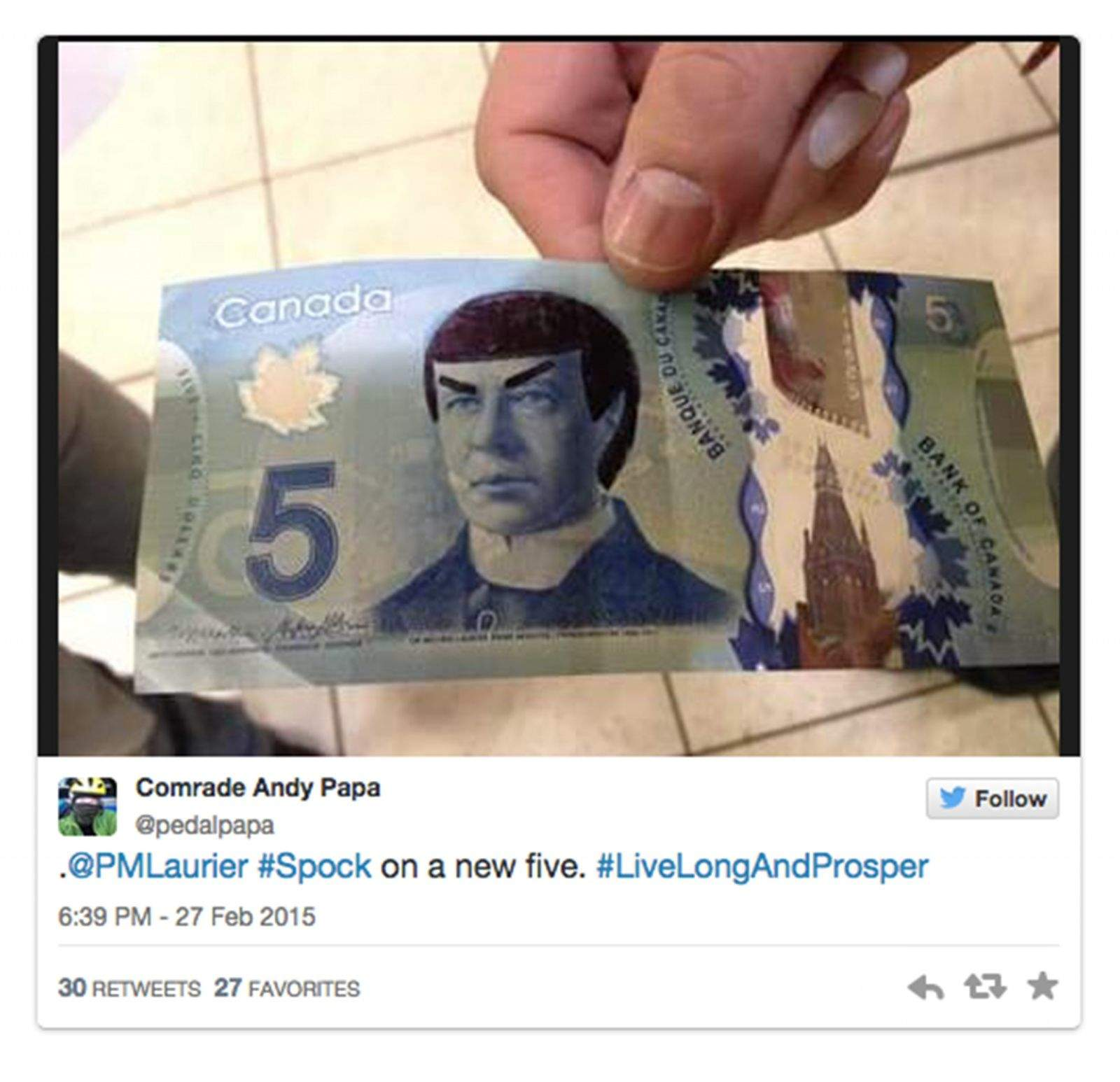 Canadians are honoring the late Leonard Nimoy by