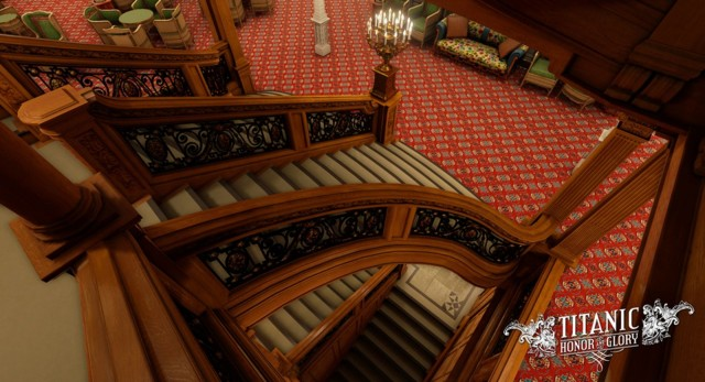 Every detail of Titanic: Honor and Glory will be historically faithful, including this staircase. Photo: Four Funnels Entertainment
