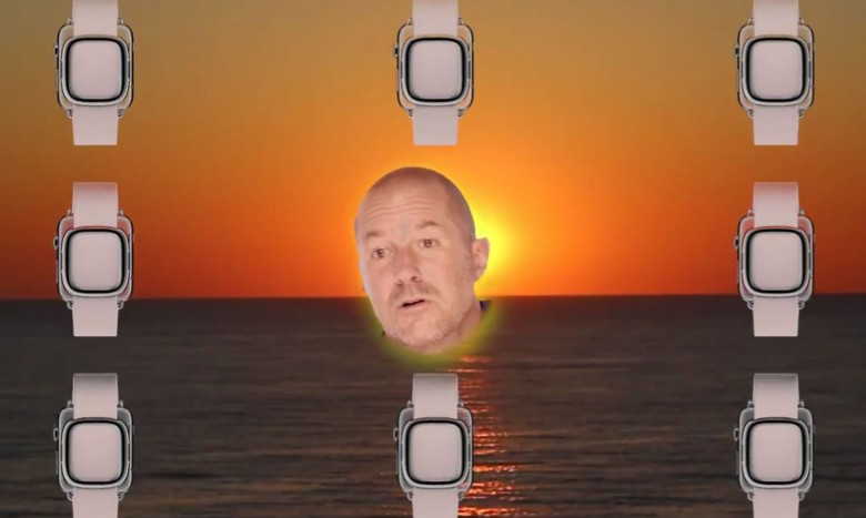 A starry-eyed Jony Ive raves about the Apple Watch in a new parody video. Photo: Gizmodo