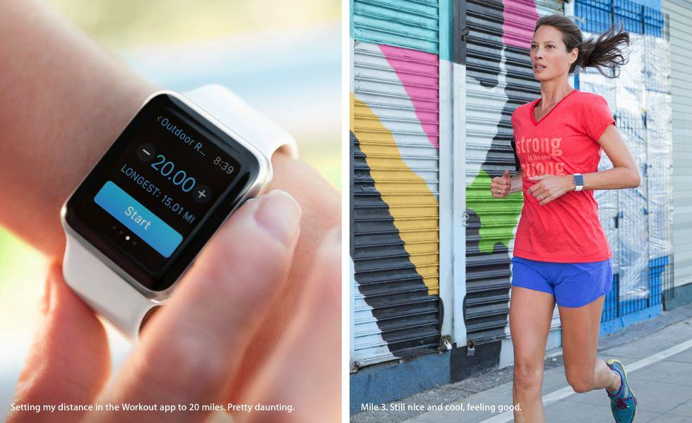 Christy Turlington has been trying out the Apple Watch, and she's apparently hooked. Photo: Apple
